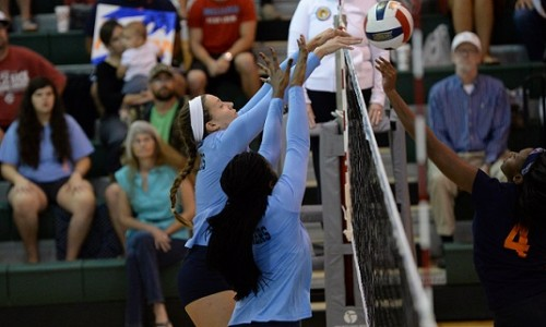 Holly Hammer and Na'Chanelle Brown combine on a block against the Barons.